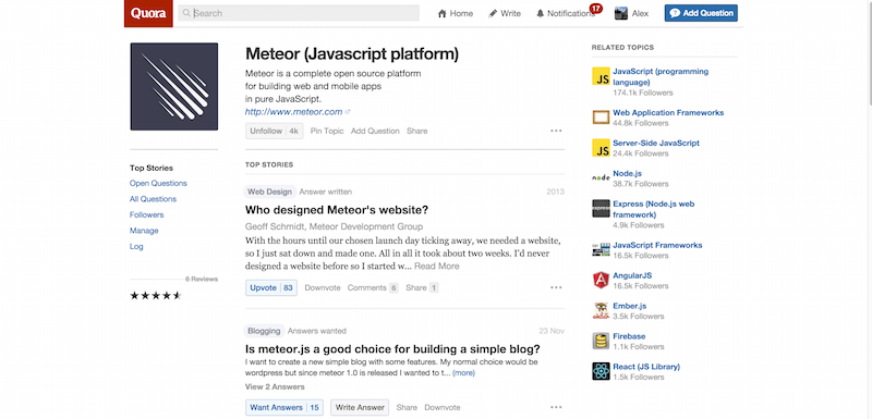-17 Meteor Javascript platform Quora