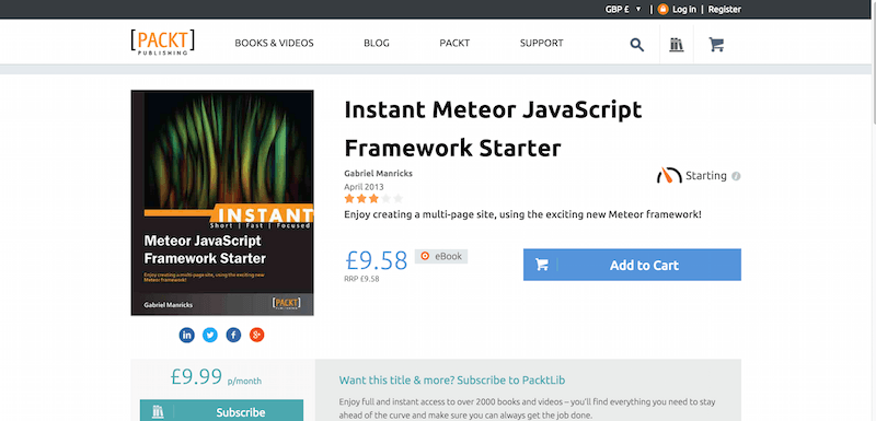 Instant Meteor JavaScript Framework Starter PACKT Books