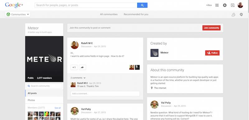 Meteor Community Google