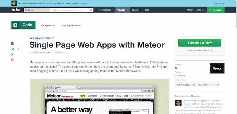 Single Page Web Apps with Meteor   Tuts  Course