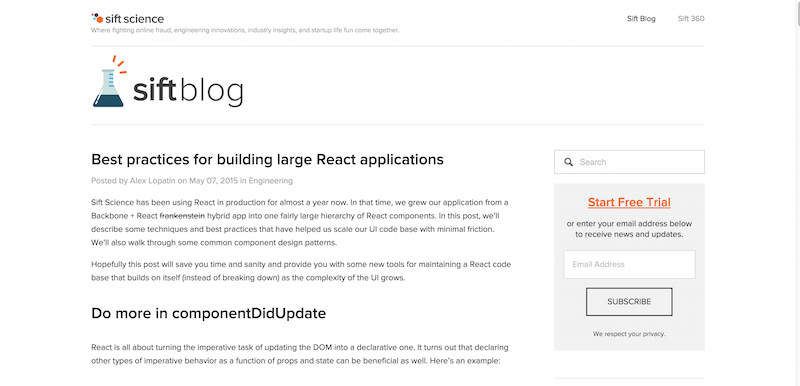 Best practices for building large React applications — Sift Science Blog
