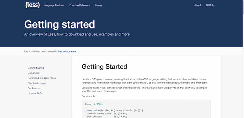 Getting started Less.js
