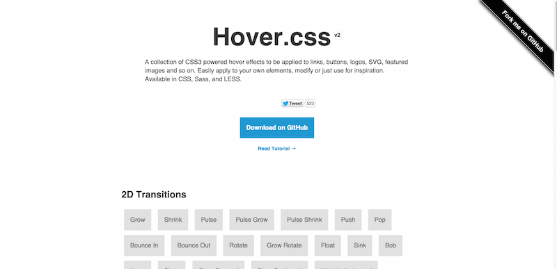Hover.css   A collection of CSS3 powered hover effects
