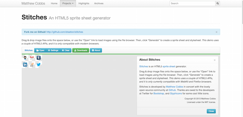 Stitches An HTML5 sprite sheet generator