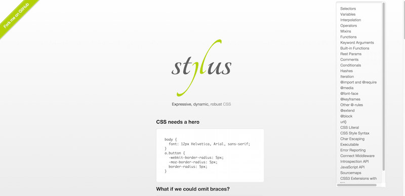 Stylus — expressive robust feature rich CSS preprocessor