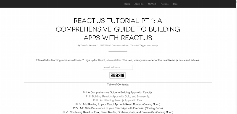 Tyler McGinnis » React.js Tutorial Pt 1 A Comprehensive Guide to Building Apps with React.js