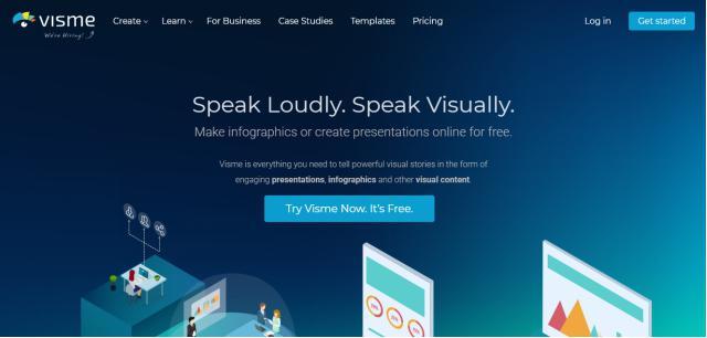 Visme homepage