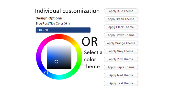 Customization options for the user