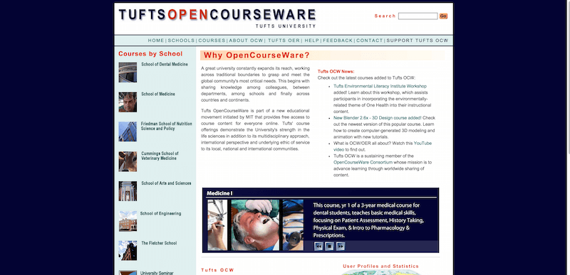 tufts university opencourseware The tufts opencourseware (ocw) project, is a web-based publication of educational material from a number of tufts university courses, providing open sharing of free.