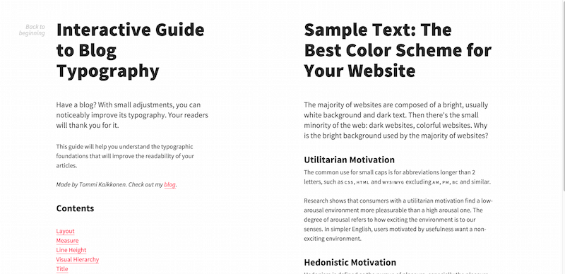 Interactive Guide to Blog Typography