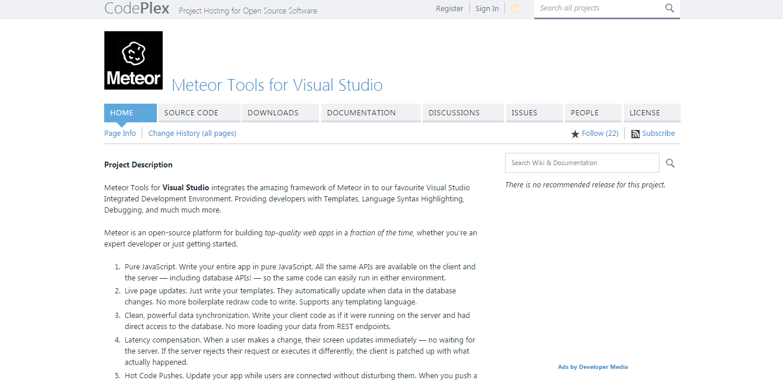 Meteor Tools for Visual Studio