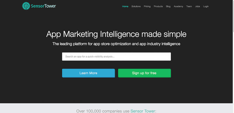 Sensor Tower Mobile App Store Marketing Intelligence