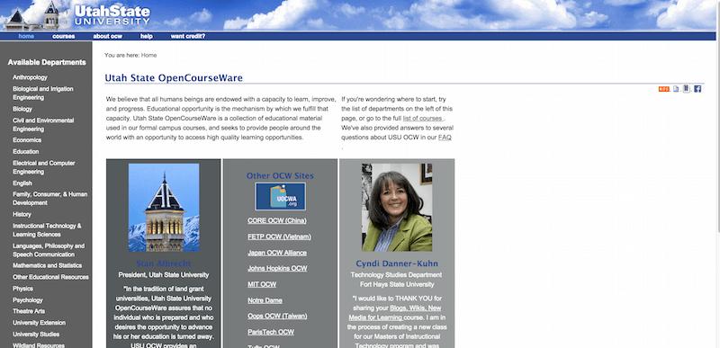 Utah State OpenCourseWare — Free Online Course Materials — USU OpenCourseWare
