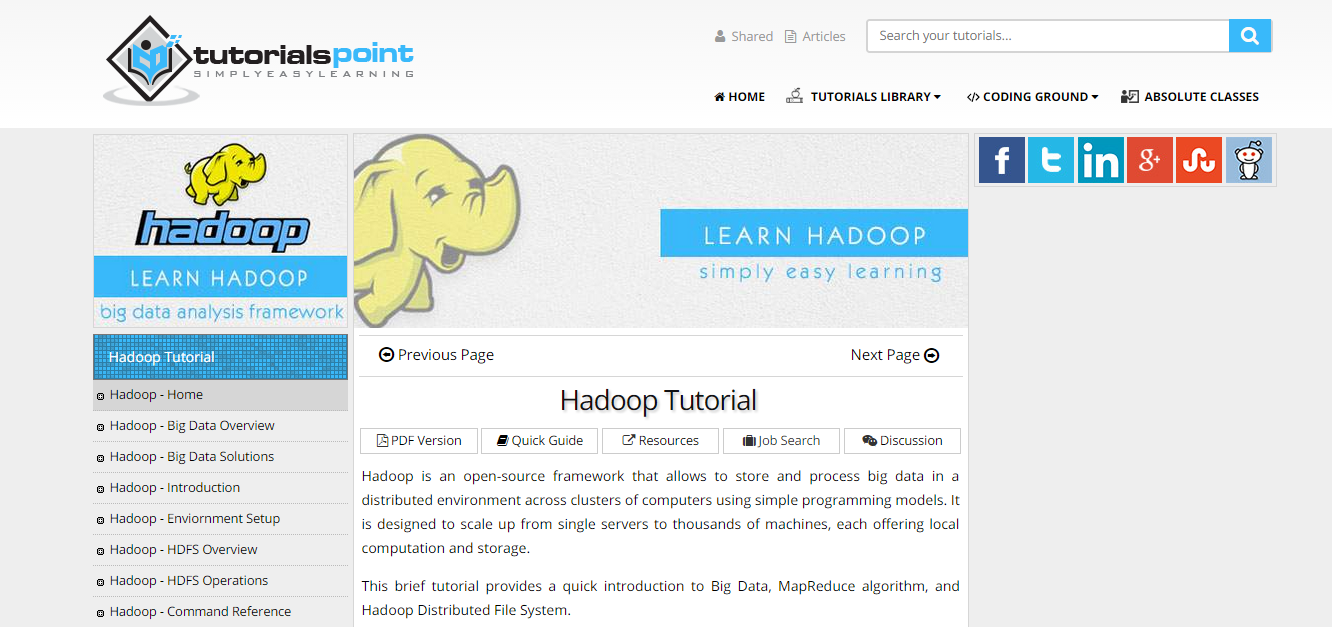15 best ways to learn hadoop technology 1 tutorial point baditri Gallery