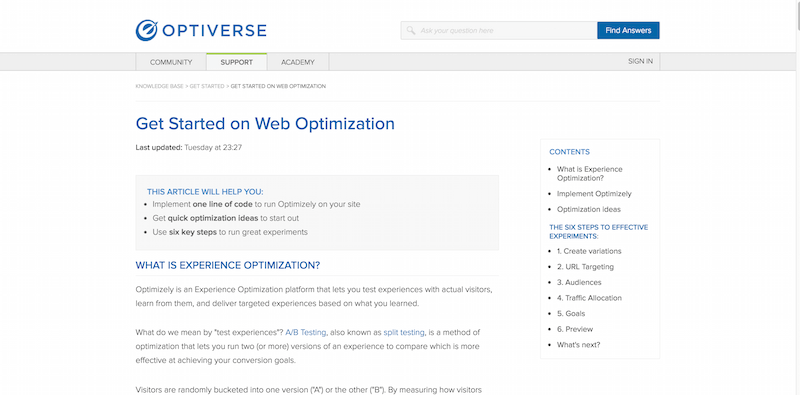 Get Started on Web Optimization – Optimizely Support