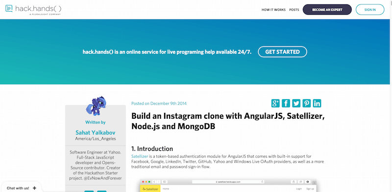 Build an Instagram clone with AngularJS Satellizer Node.js and MongoDB HackHands