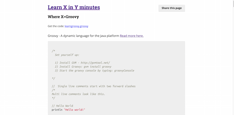 Learn Groovy in Y Minutes