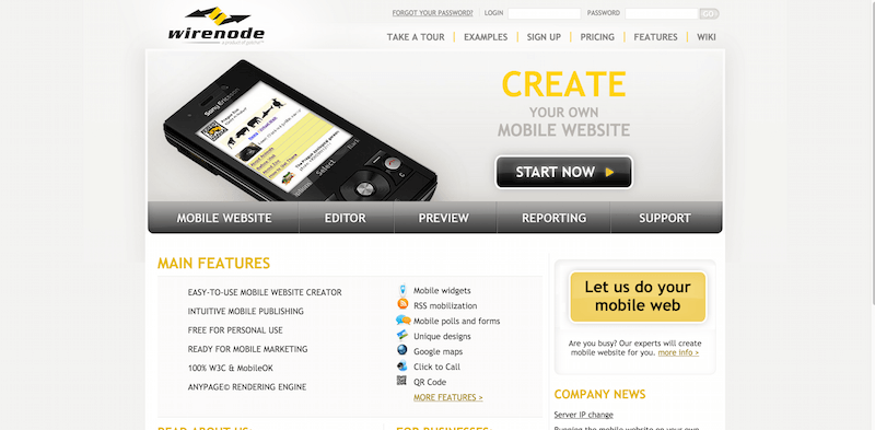Mobile websites creator   Wirenode