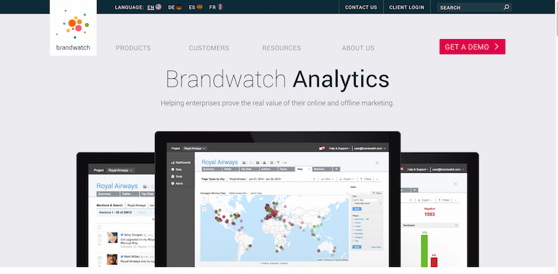 Social Media Listening and Analytics Platform Brandwatch