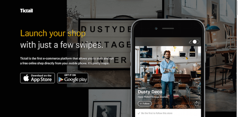 Tictail – Launch your shop with just a few swipes.