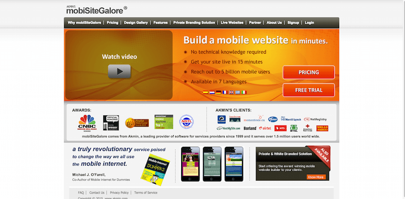mobiSiteGalore   Build your own mobile website that looks great on all phones