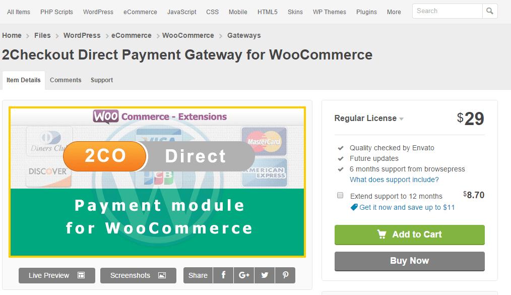2Checkout Direct Payment Gateway