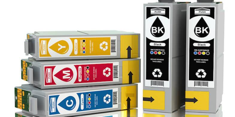 CMYK. Cartridges for colour inkjet printer. 3d