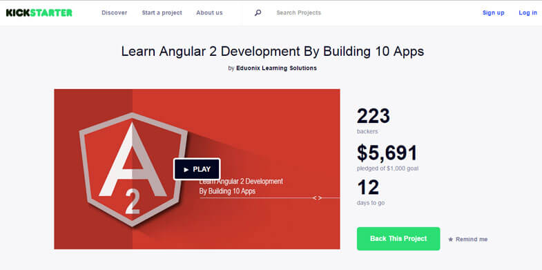 Angular 2 Kickstarter Campaign