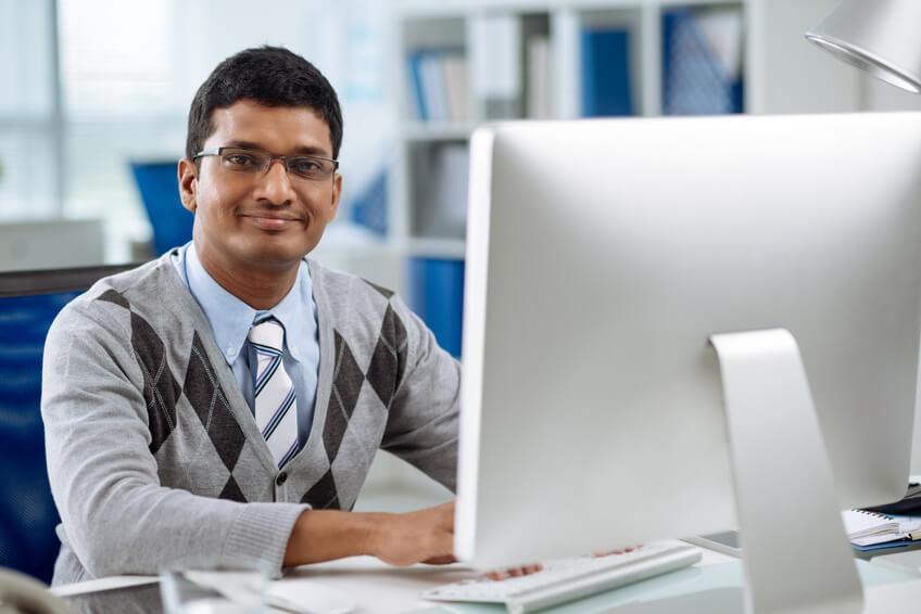 software developer working on computer