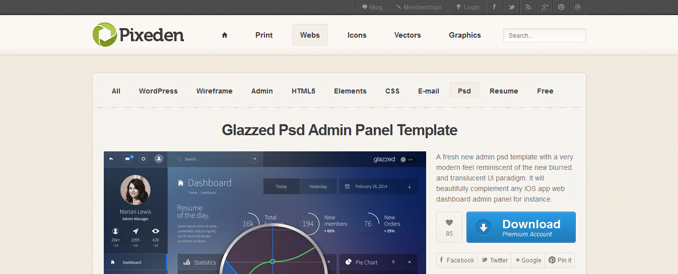 Glazzed psd admin panel template web development technology glazzed psd admin panel template malvernweather Image collections