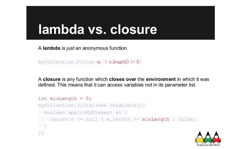 Lambdas and Closures