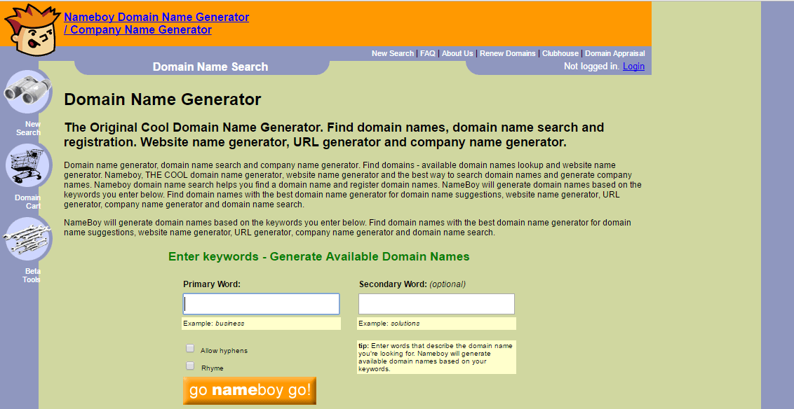 Nameboy - domain name selection tool