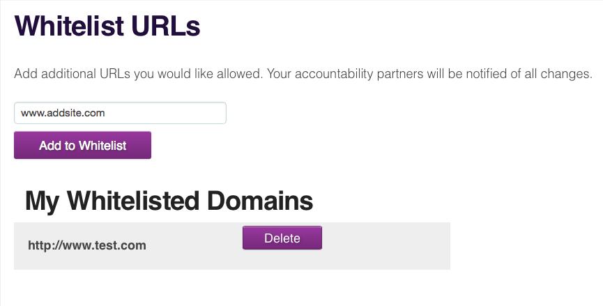 Whitelist URLs