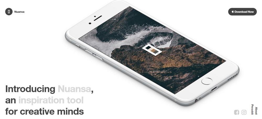 Nuansa app - landing pages