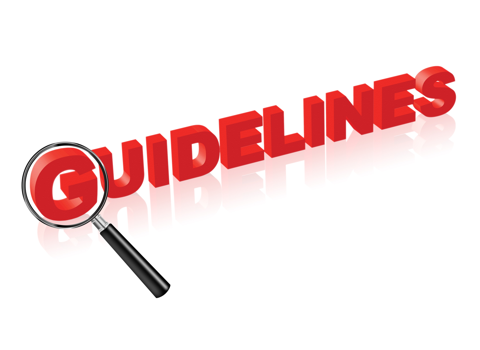 Guidelines red text and magnify glass