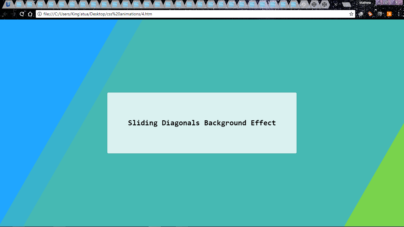 Sliding Diagonals Background Color Effect 1