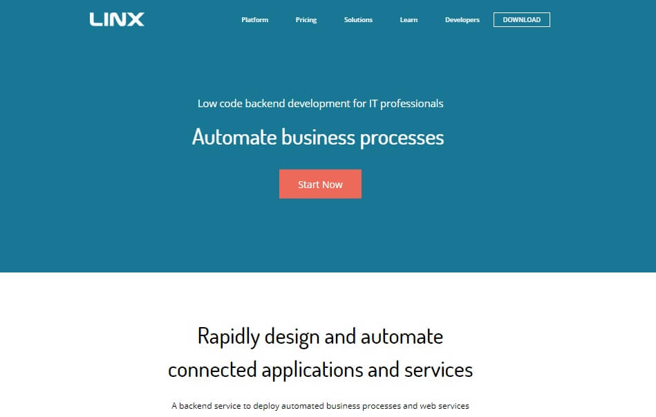 Linx Home Page Screenshot