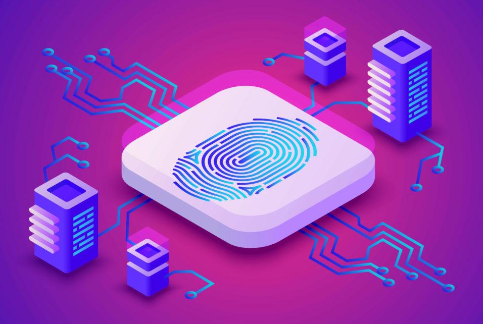 Biometrics blockchain technology vector illustration