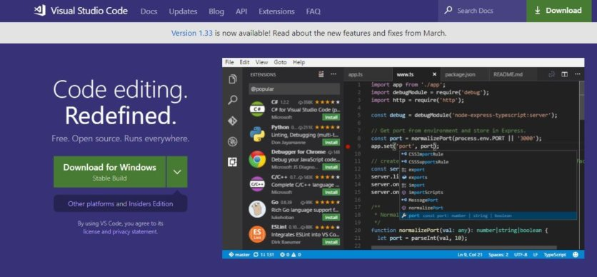 Visual Studio Code Linux ide