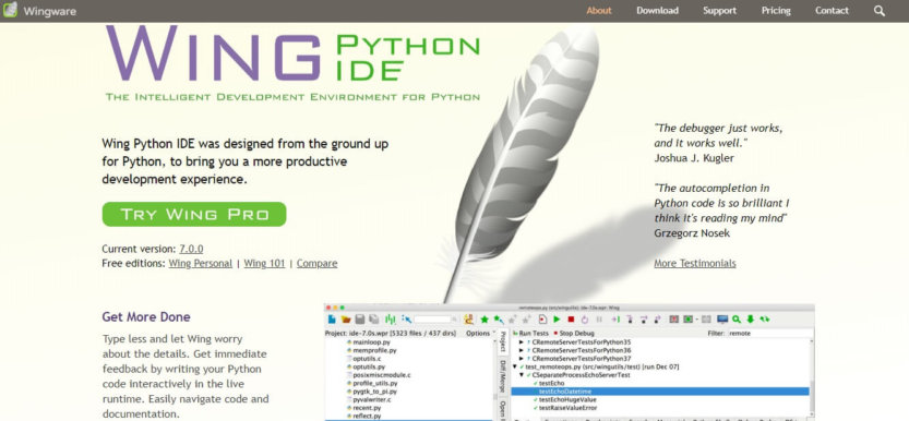 Wing Python IDE homepage