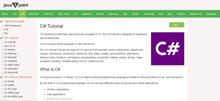 JavaTPoint - Learn C#