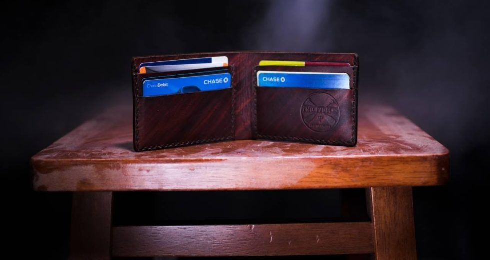 Cards, wallet, table