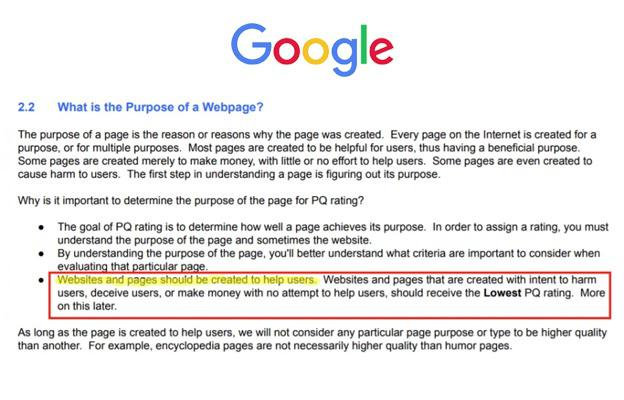 Purpose of Webpage by Google
