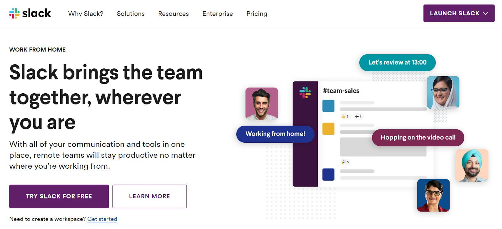 Here's an example of a well-designed website—Slack.