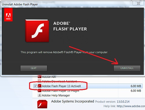 Adobe flash player uninstall