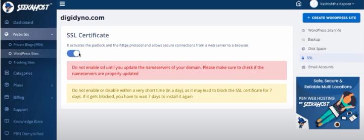 seekahost-SSL certificate