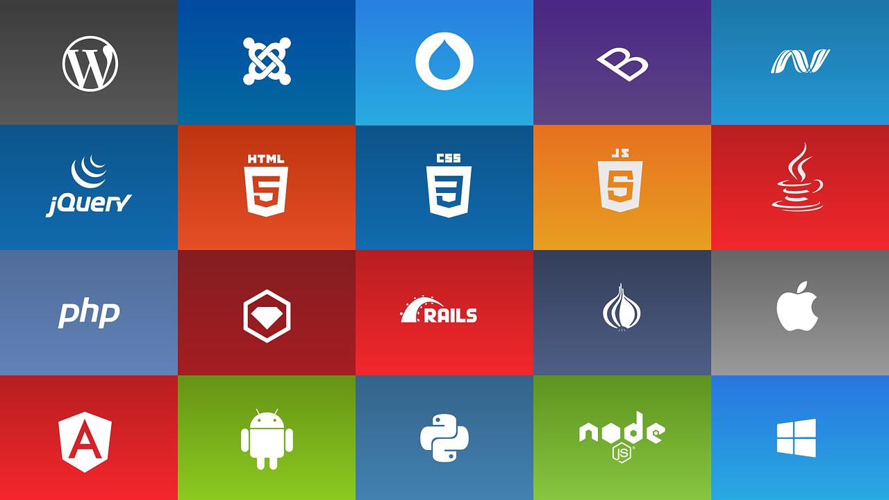 tech logo- html, css, javascript, wordpress, bootstrap, angular, php, android, python